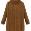 歐美高領寬松毛衣中長款 復古麻花針織外套